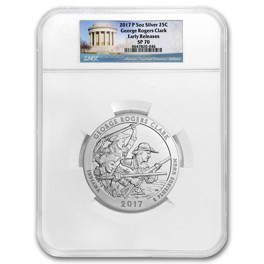 2017-P 5 oz Silver ATB George Rogers Clark SP-70 NGC (ER)