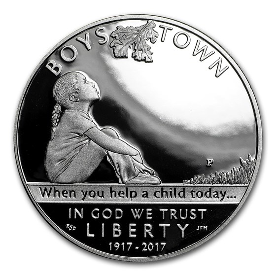 2017-P Boys Town $1 Centennial Silver Proof (Box & COA)