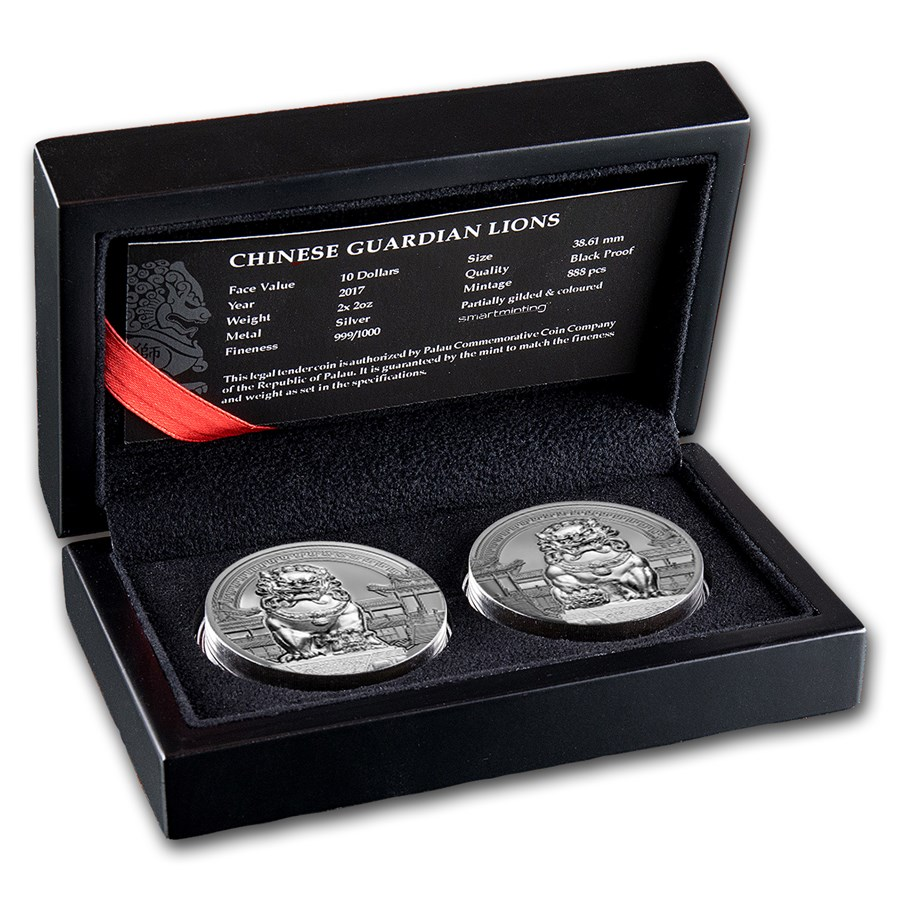 2017 Palau 2-Coin Silver $10 Chinese Guardian Lions Proof Set