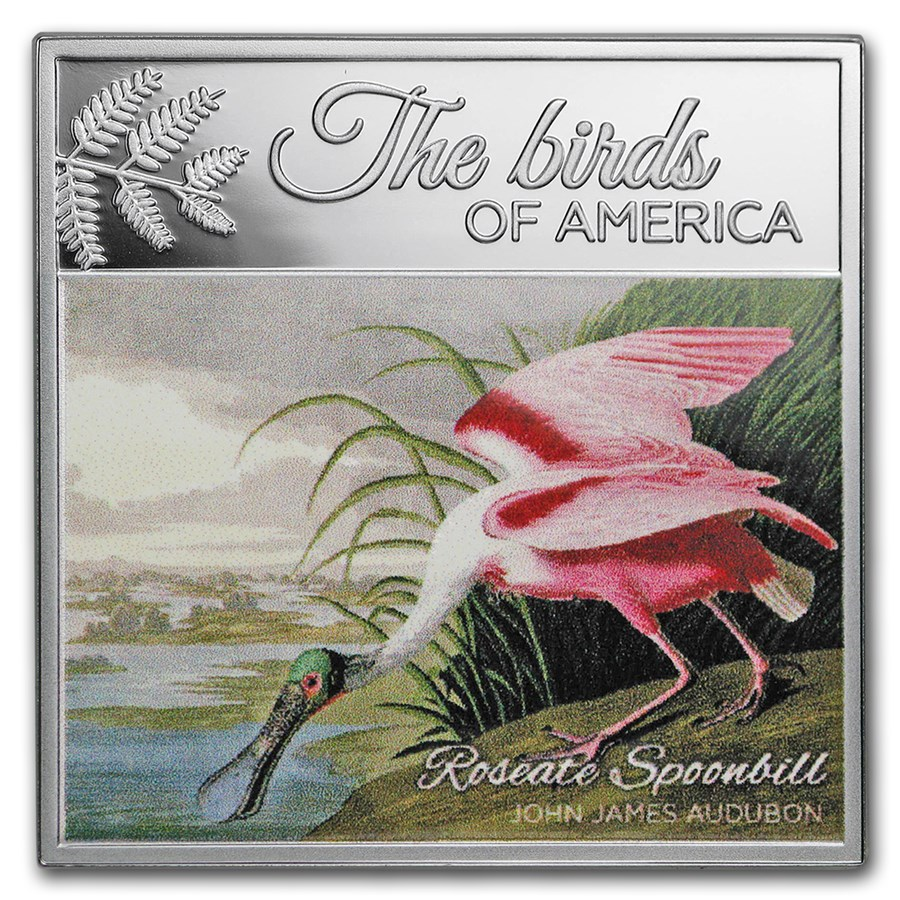 2017 Rep. of Cameroon Silver The Birds of America (Spoonbill)