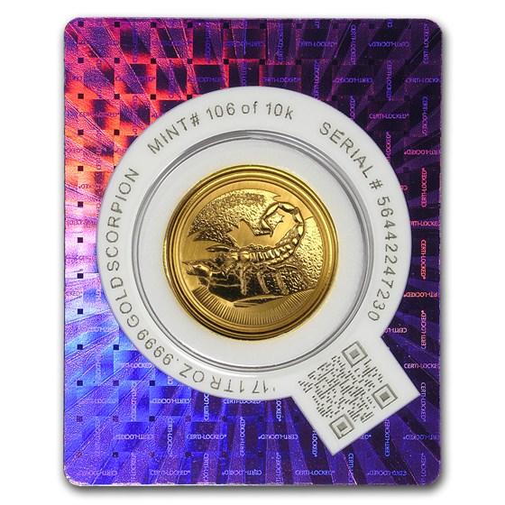 2017 Republic of Chad 1 oz Gold Deathstalker Scorpion BU