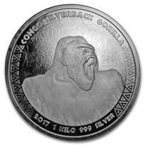 2017 Republic of Congo 1 Kilo Silver Silverback Gorilla BU