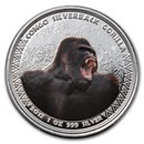 2017 Republic of Congo 1 oz Silver Silverback Gorilla (Colorized)