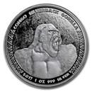 2017 Republic of Congo 1 oz Silver Silverback Gorilla (Prooflike)