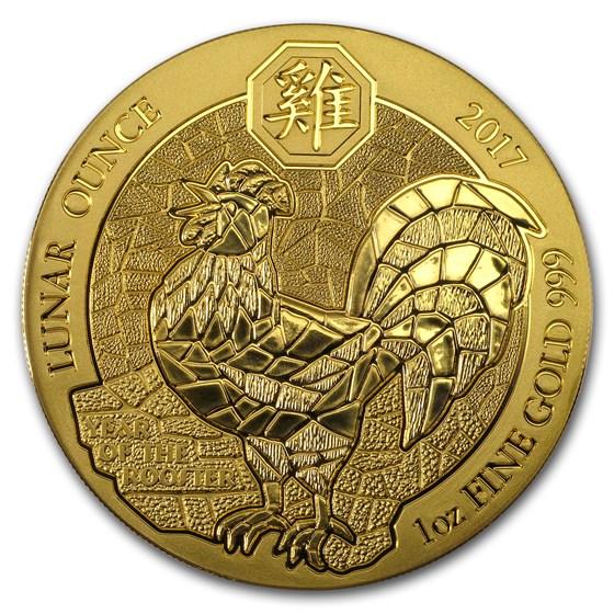 2017 Rwanda 1 oz Gold Lunar Year of the Rooster BU