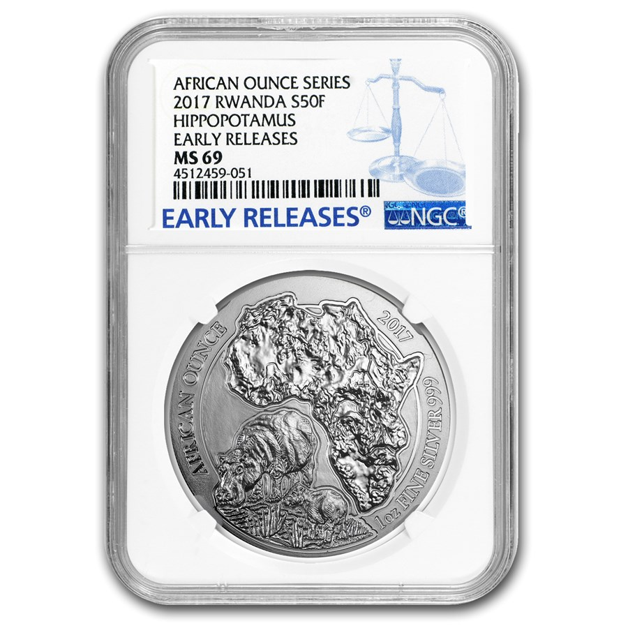 2017 Rwanda 1 oz Silver African Hippo MS-69 NGC (Early Releases)