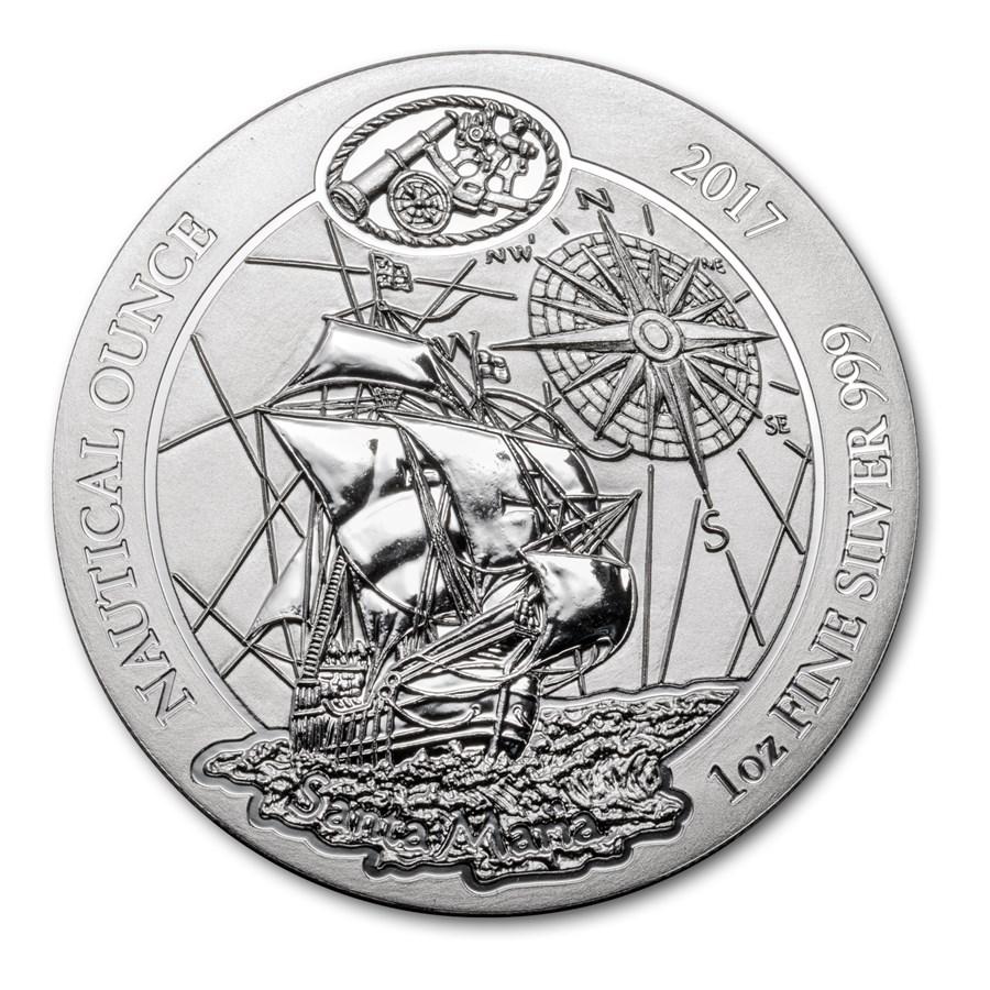 2017 Rwanda 1 oz Silver Nautical Ounce Santa Maria BU