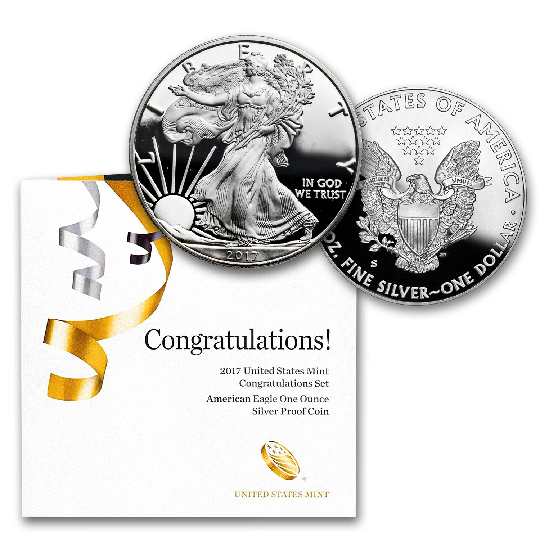 2018-W 1 oz Proof American Silver Eagle Congratulations Set