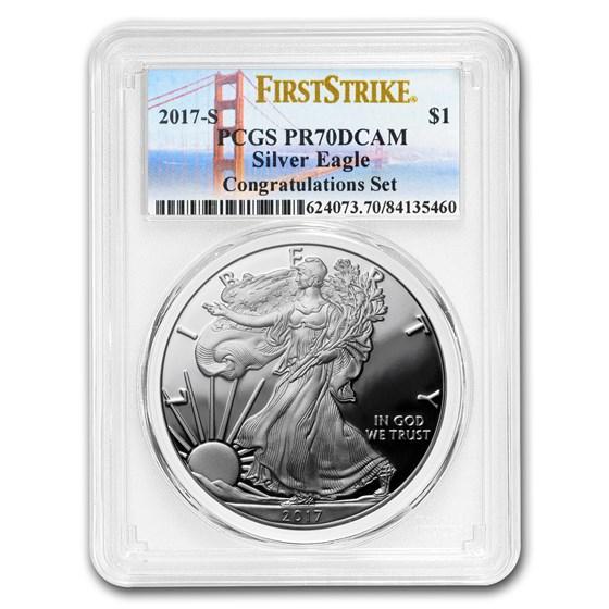 2017-S Proof Silver American Eagle PR-70 PCGS (FS, Golden Gate)