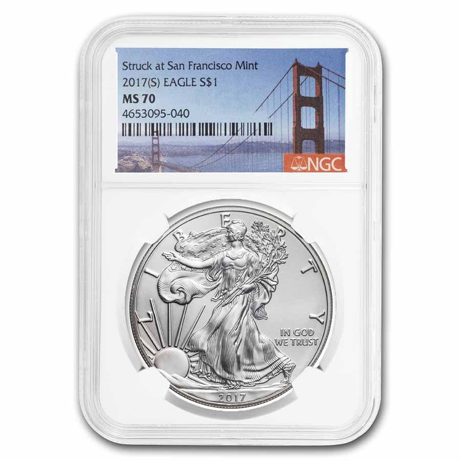 2017 (S) Silver Eagle MS-70 NGC (Golden Gate Bridge Label)