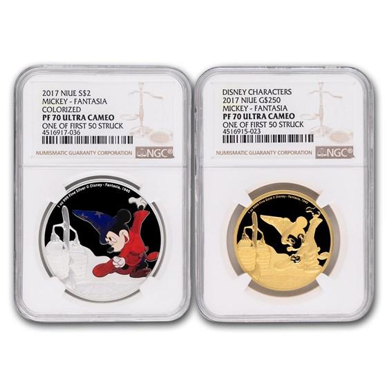 2017 Set 1 oz Gold & Silver Mickey: Fantasia PF-70 UCAM NGC