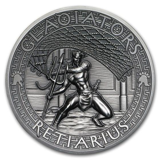 2017 Solomon Islands 2 oz Antique Silver Gladiators (Retiarius)