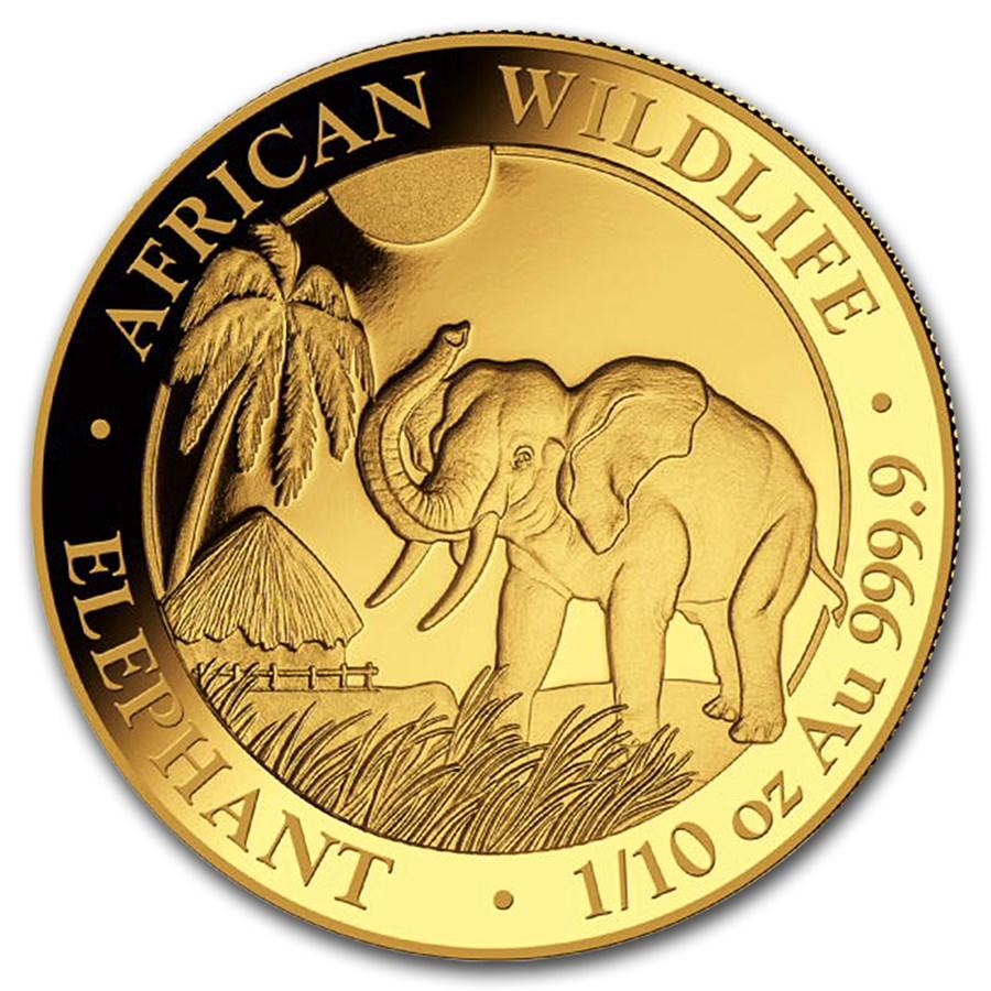 2017 Somalia 1/10 oz Gold African Elephant BU