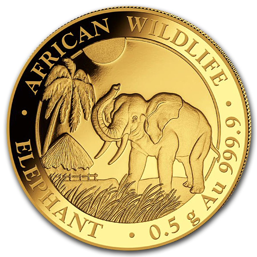 2017 Somalia 1/2 gram Gold African Elephant BU