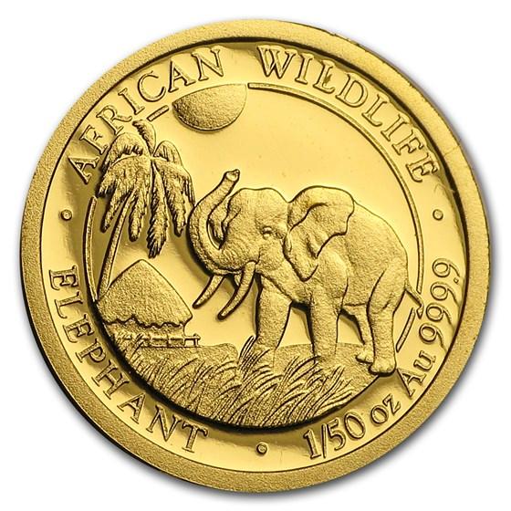 2017 Somalia 1/50 oz Gold African Elephant BU