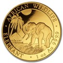 2017 Somalia 1 oz Gold African Elephant BU
