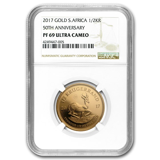 2017 South Africa 1/2 oz Gold Krugerrand PF-69 NGC
