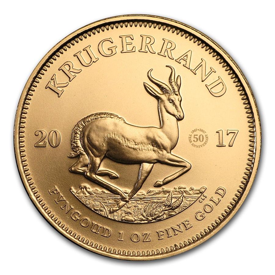 2017 South Africa 1 oz Gold Krugerrand 50th Anniv BU (Privy)