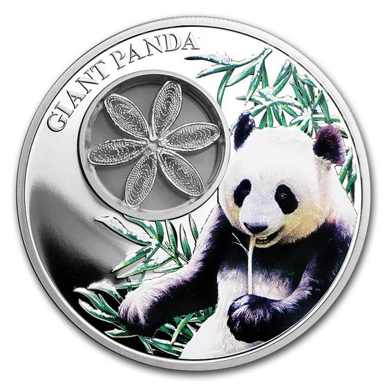2017 Tokelau Proof 1 oz Silver Giant Panda (w/Filigree)