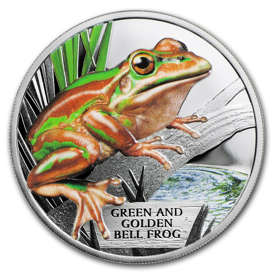 2017 Tuvalu 1 oz Proof Silver Green and Golden Bell Frog