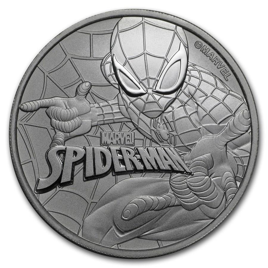 2017 Tuvalu 1 oz Silver $1 Marvel Series SPIDERMAN™ BU