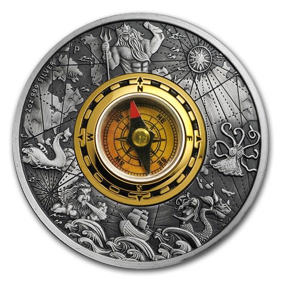 2017 Tuvalu 2 oz Silver Antique Compass