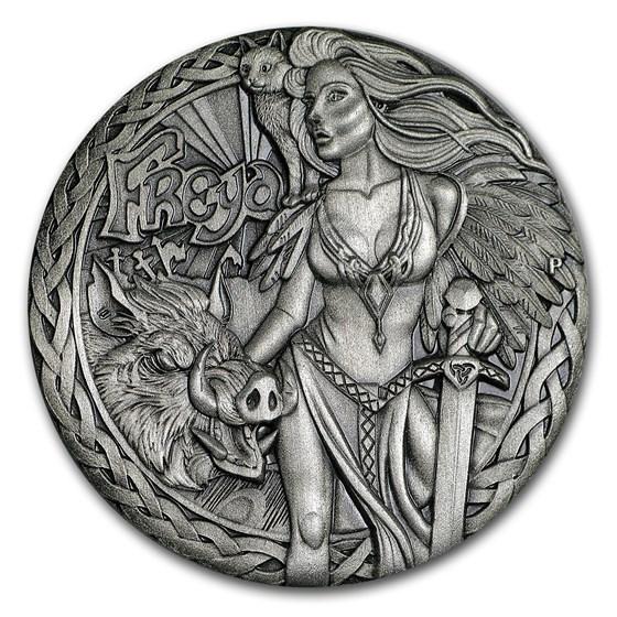 2017 Tuvalu 2 oz Silver Norse Goddesses: Freya BU (HR, Antiqued)
