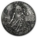 2017 Tuvalu 2 oz Silver Norse Goddesses: Hel BU (HR, Antiqued)