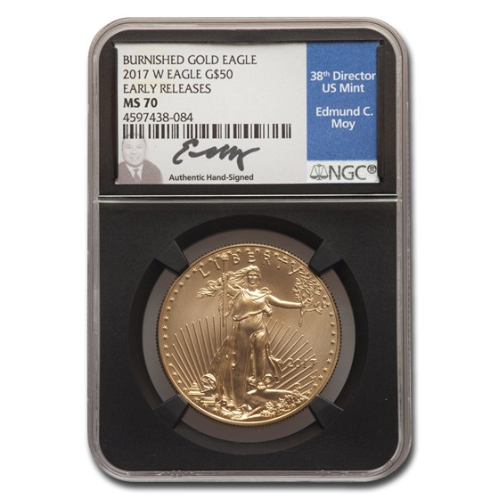 2017-W 1 oz Burnished Gold Eagle MS-70 NGC (ER, Black Core Moy)