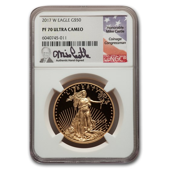 2017-W 1 oz Proof American Gold Eagle PF-70 NGC (Castle Label)