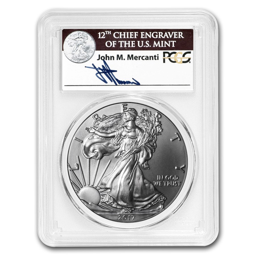 2017-W Burnished Silver American Eagle SP-70 PCGS (FD, Mercanti)