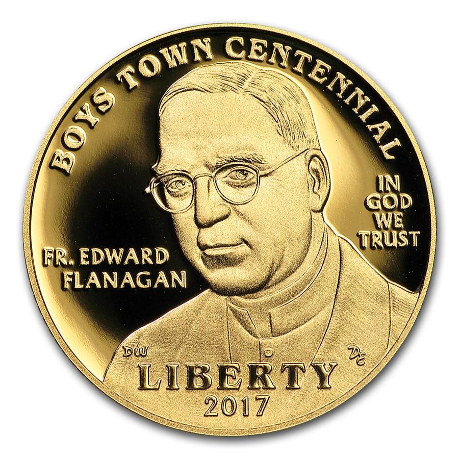 2017-W Gold $5 Commem Boys Town Centennial Proof (w/Box & COA)