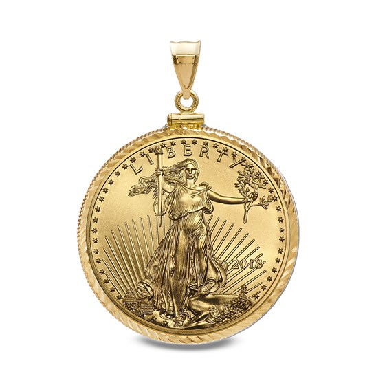 2018 1/10 oz Gold Eagle Pendant (Diamond-ScrewTop Bezel)