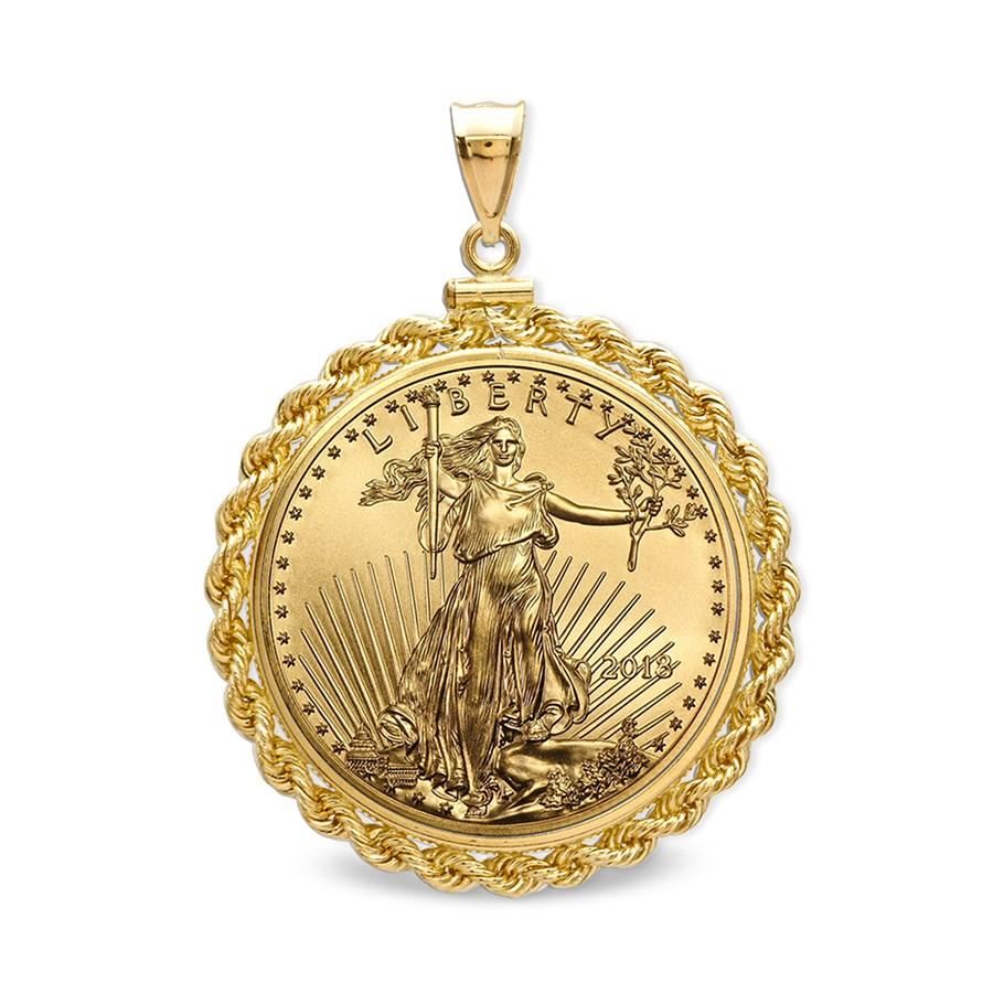 2018 1/10 oz Gold Eagle Pendant (Rope-ScrewTop Bezel)