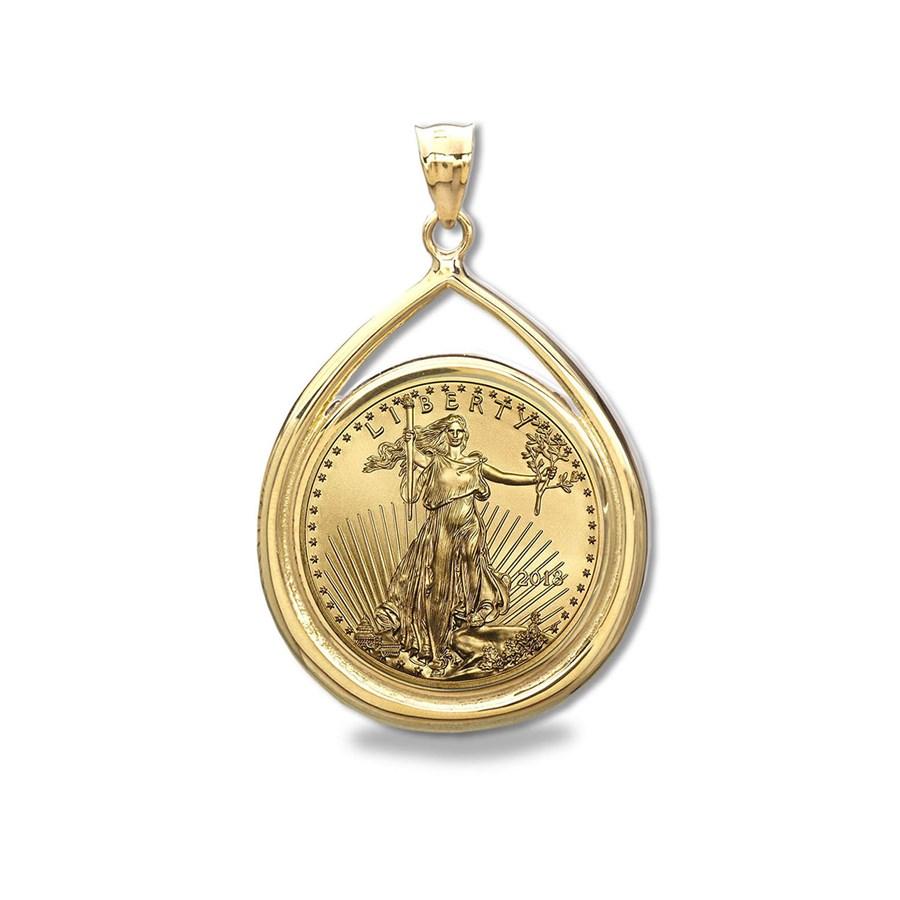 2018 1/10 oz Gold Eagle Teardrop Pendant (Prong Bezel)