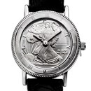 2018 1/10 oz Silver Walking Liberty Leather Band Watch