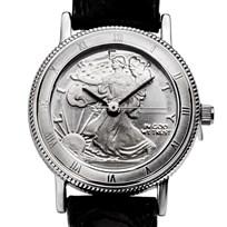 2018 1/10 oz Silver Walking Liberty Leather Band Watch