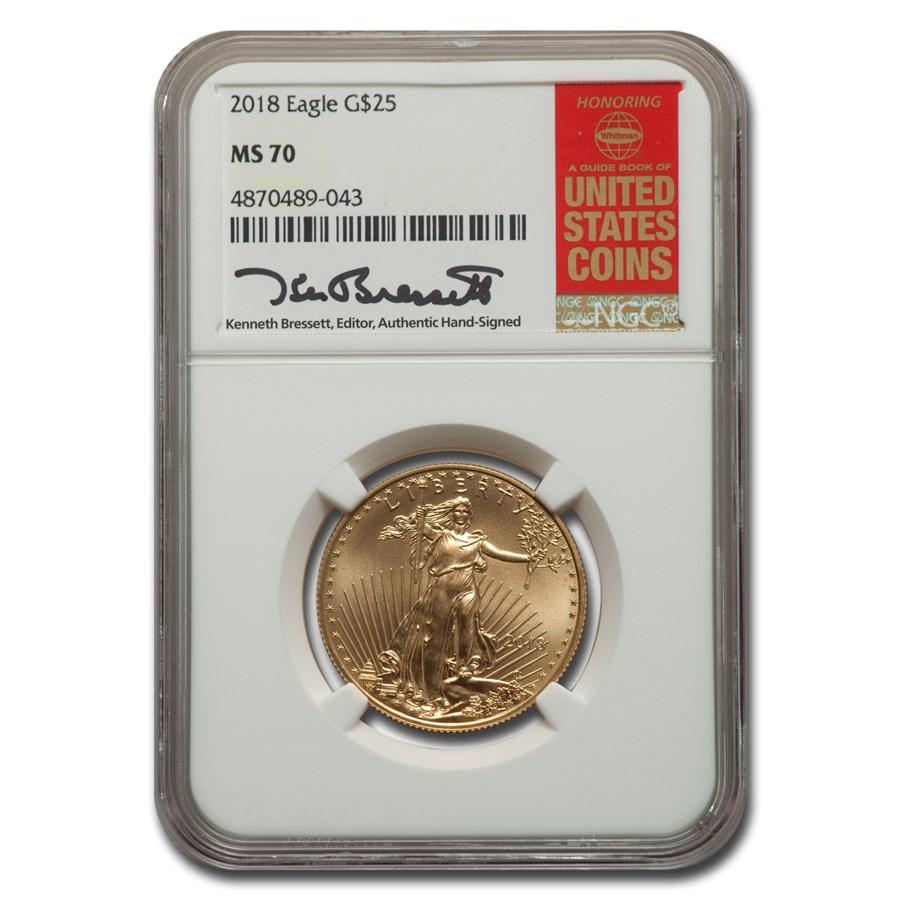 2018 1/2 oz American Gold Eagle MS-70 NGC (Bressett)
