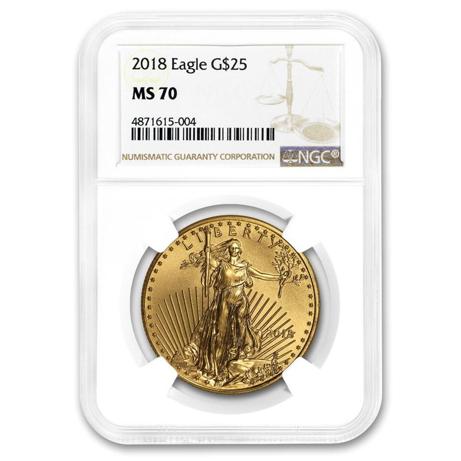 2018 1/2 oz American Gold Eagle MS-70 NGC