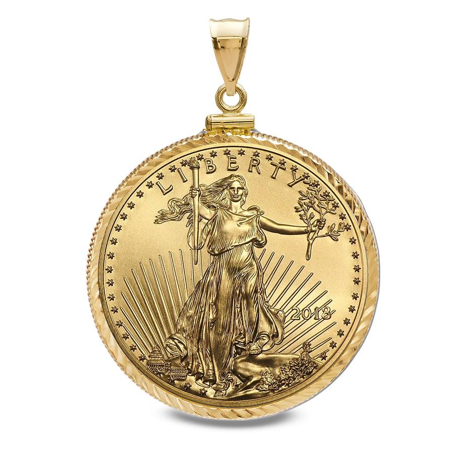 2018 1/2 oz Gold Eagle Pendant (Diamond-ScrewTop Bezel)