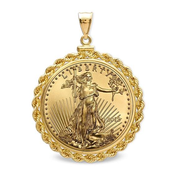 2018 1/2 oz Gold Eagle Pendant (Rope-ScrewTop Bezel)