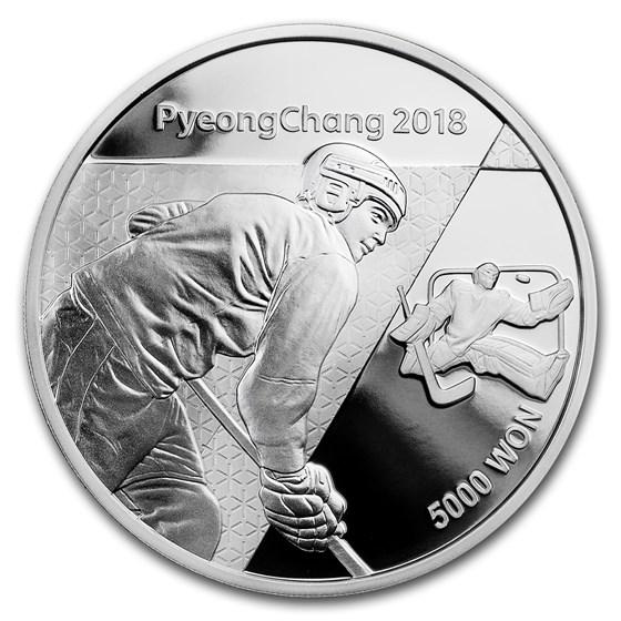 2018 1/2 oz Silver PyeongChang Winter Olympic Ice Hockey Proof
