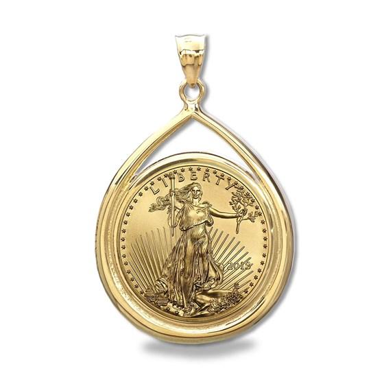 2018 1/4 oz Gold Eagle Teardrop Pendant (Prong Bezel)
