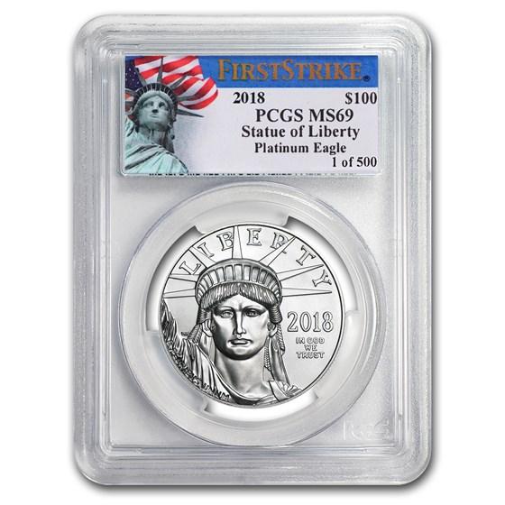 2018 1 oz American Platinum Eagle MS-69 PCGS (FS, Liberty Label)