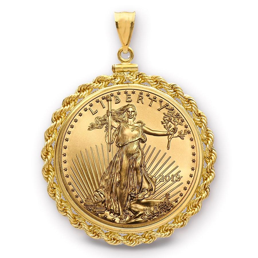 2018 1 oz Gold Eagle Pendant (Rope-ScrewTop Bezel)