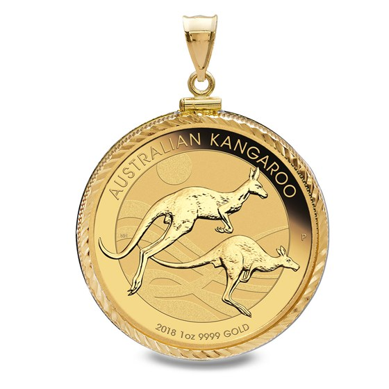 2018 1 oz Gold Kangaroo Pendant (Diamond-ScrewTop Bezel)
