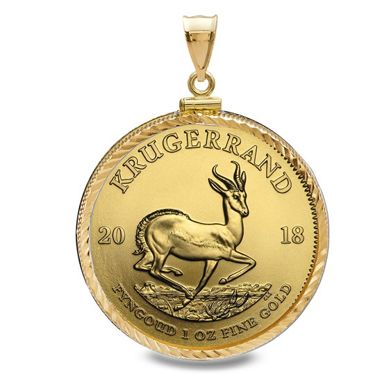 2018 1 oz Gold Krugerrand Pendant (Diamond-ScrewTop Bezel)