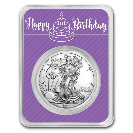 2018 1 oz Silver American Eagle - Birthday Periwinkle