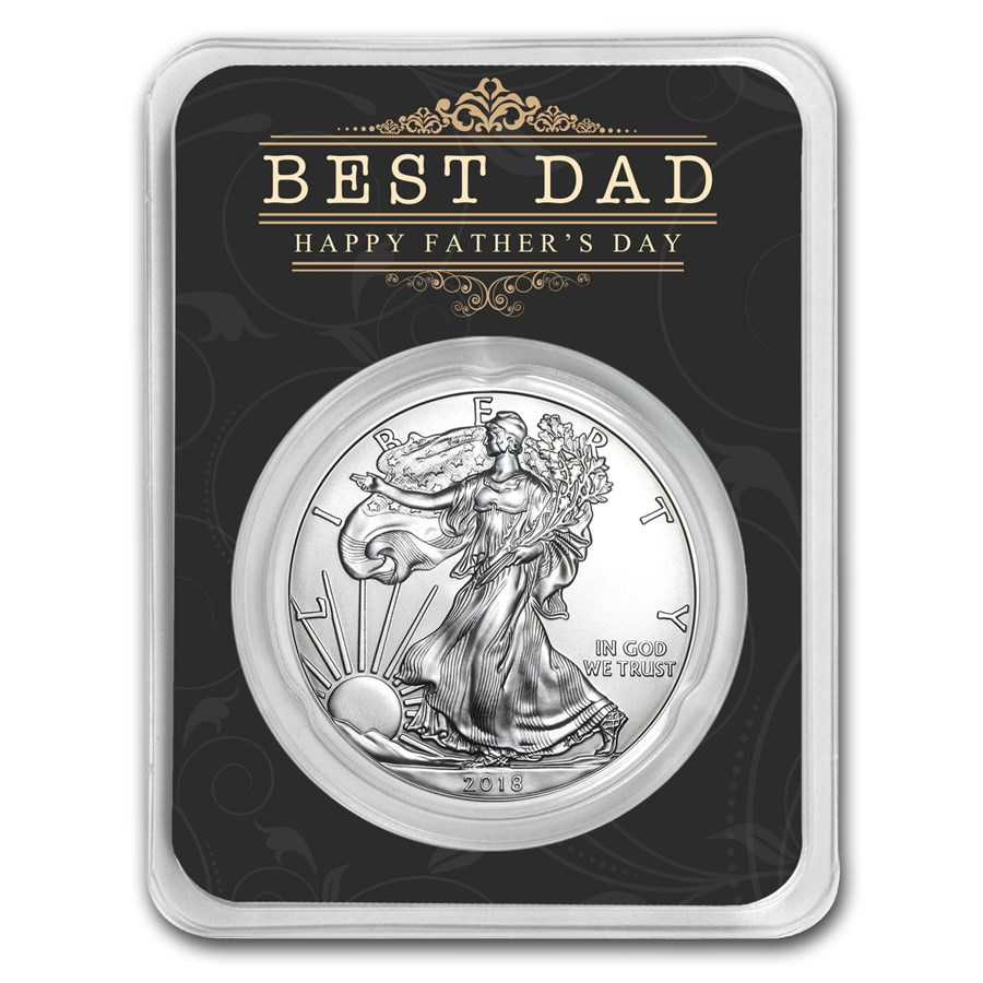 2018 1 oz Silver American Eagle - Happy Father's Day - Best Dad