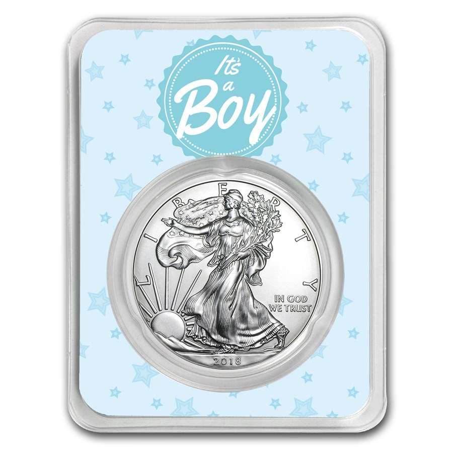2018 1 oz Silver American Eagle - It's A Boy Stars
